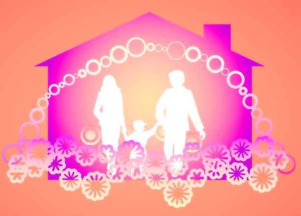 Happy Family Happy Home: Silhouettes of a happy family with symbolic graphic decorations and a house shape in the background. None of my images are to be redistributed. Silhouettes from Manfreid Klein - free to use commercially.