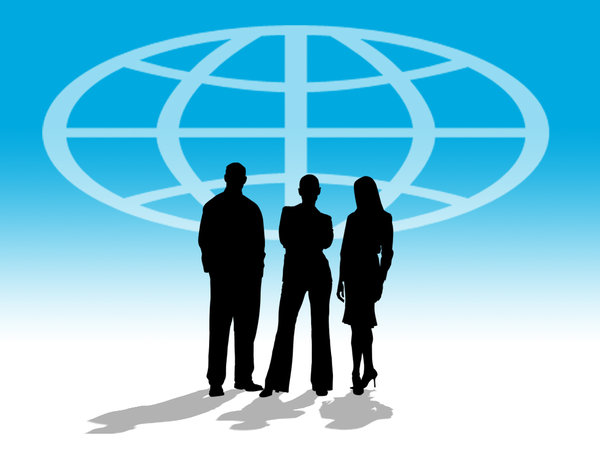 Business World 1: Three business people silhouettes against a world atlas symbol