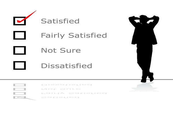 Satisfied: Customer feedback concept