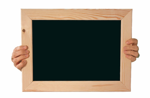 Chalk Board: Hands holding a plain black chalk board