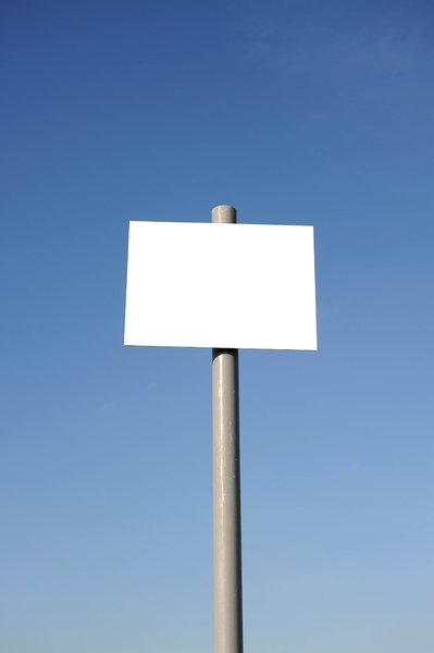 Blank Sign 1: blank white sign against a blue sky