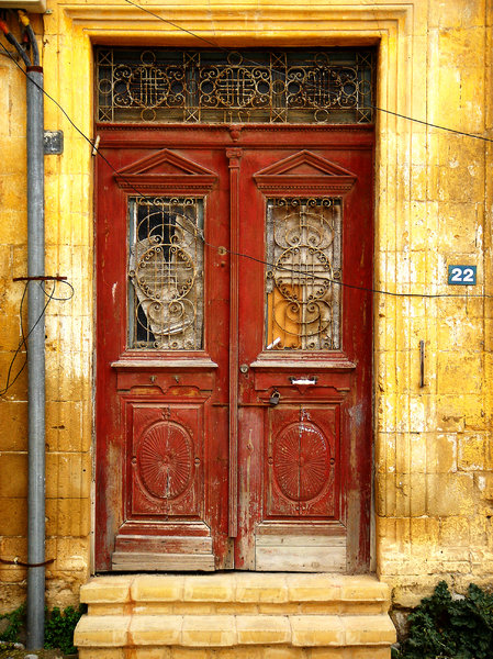 Old door: Abandoned house in the Turkish side of Nicosia, Cyprus.