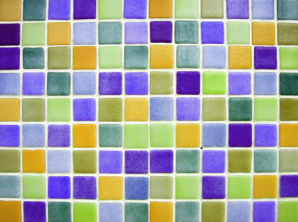 Colour tiles 3: Multicolour ceramic tiles texture. Playa de Gandia, Valencia