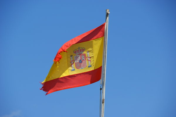 Spanish flag: Spanish flag punished by the wind