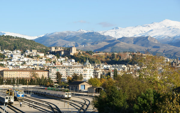 Granada 1: Granada railways station,the city with La Alhambra and Sierra Nevada