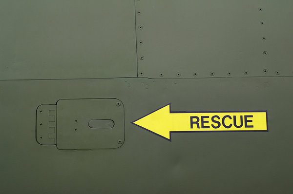 Aircraft texture 3: Screws, seams and a rescue decal on the side of an airplane.