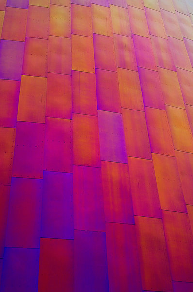 Panes of color 2: Windows on a building at the Experience Music Project in Seattle, Washington, designed by architect Frank Gehry.