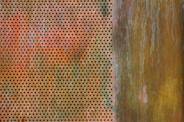 Copper Screen 1: A copper screen panel on a door.