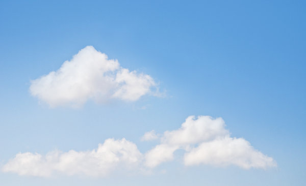 Sky and clouds: blue sky and fluffy clouds
