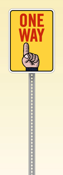 One Way Sign: A Cartoon One Way Sign.http://www.dailyaudiobibl ..Please visit my stockxpert gallery:http://www.stockxpert.com ..