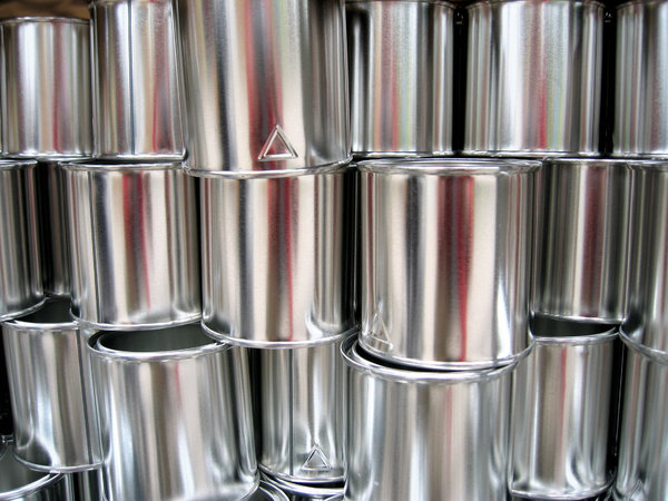 Tin cans: stacked tin cans
