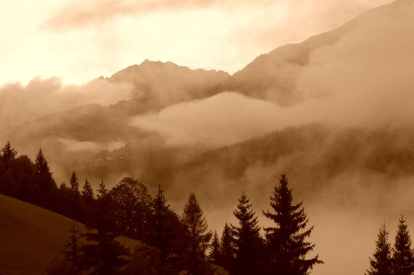Misty mountain valley 3: Sepia version of mountain mist scene.