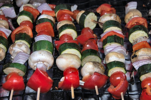 Vegetable skewers: No description