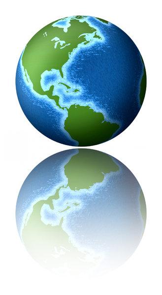 Earth 2: Planet earth with a reflection.Please visit my stockxpert gallery:http://www.stockxpert.com ..
