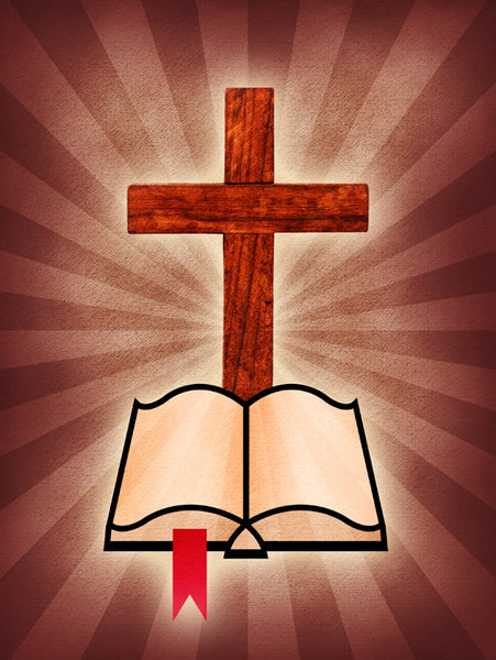 Cross and Bible: A cross and Bible icon on a burst background.Please visit my stockxpert gallery:http://www.stockxpert.com ..