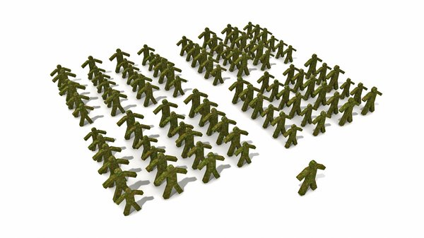 Formation: Army: An abstract image of a green camouflage army placed in formation in front of their leader.