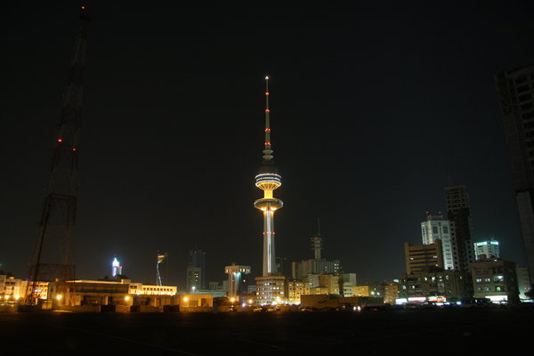 kuwait buildings and tower: kuwait buildings in nights and tower