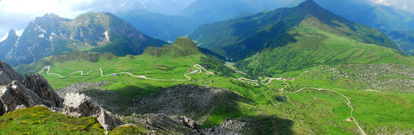 Panorama in Dolomites: landscape in dolomites with serpentine road. Italy