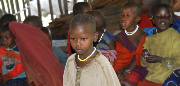 Pupil in Masai school: Portrait of a pupil in a Masai camp's school-building close to Ngorongoro crater, Africa