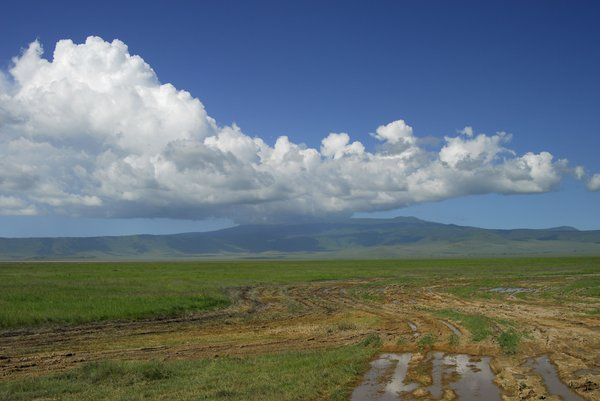 African sky: beautiful sky with clouds in Ngorongoro-crater, Tanzania, Afrika