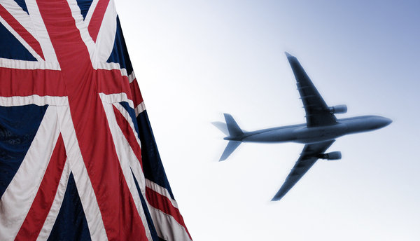 flag and plane: British flag