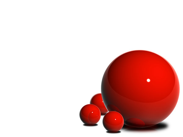 Glossy Ball 2: A set of 5 images made from red glossy balls.