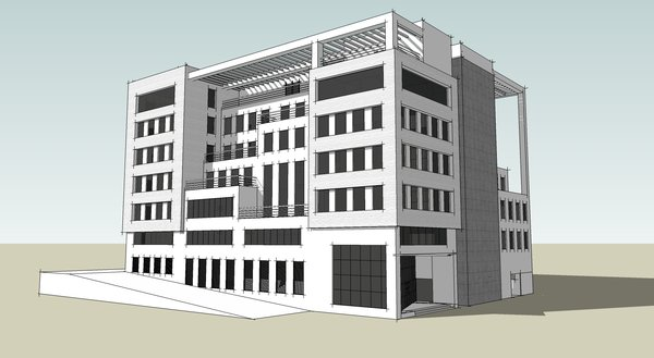 3d Building: A sketch up draft of a nicely designed building