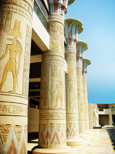 Egyptian architecture: Modern architecture with an egyptian concept. Building in Dubai