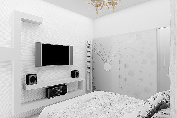 Bedroom interior design: 3d visualization of a Bedroom with hometheatre
