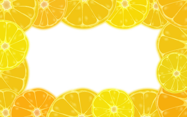 Citrus border: Lemon and oranges border illustration