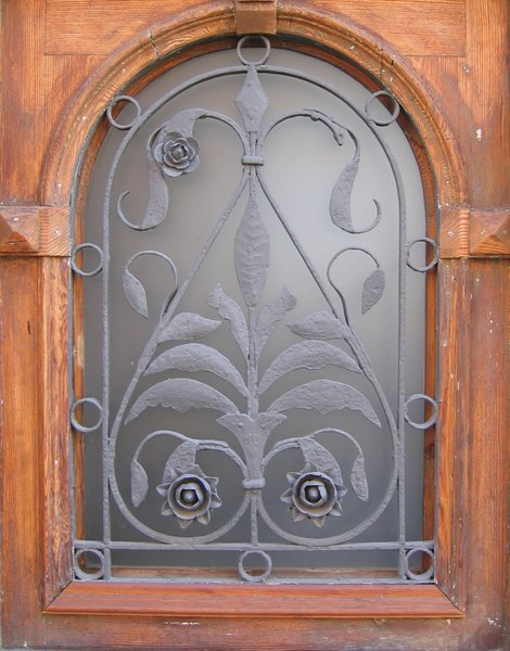 wrought-iron glass window: wrought-iron glass window