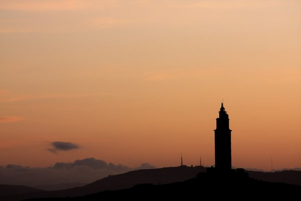 Sunrise & tower: Sunrise & tower. The Hercules Tower is included in the World Heritage List. The Tower of Hercules is testimony to the use of lighthouses in antiquity. The Tower is also proof of the continuity of the Atlantic route since Roman Empire times.