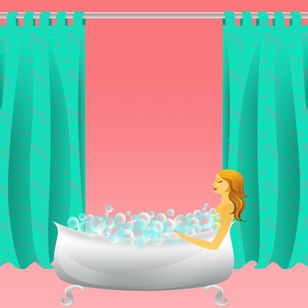 Bubble bath frame/background: visit my site ozaidesigns.com for more of my free illustrations!A bubble bath with a woman in it and shower curtains in the background. *If you download this for online use, please send me a link! :)