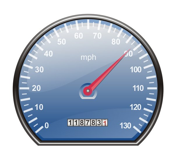 Speedometer in mph: Speedometer in miles per hour, blue disc and red indicator