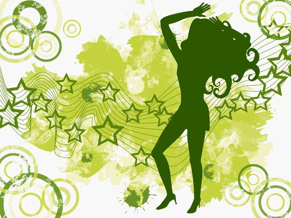 Star Girl: Dancing girl silhouette on an abstract background of circles, stars and grungy water colour.
