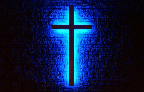 Peace Within: On New Hope Wesleyan church in Kentville, Nova Scotia, Canada is this cross backlit in blue ... the color of peace.