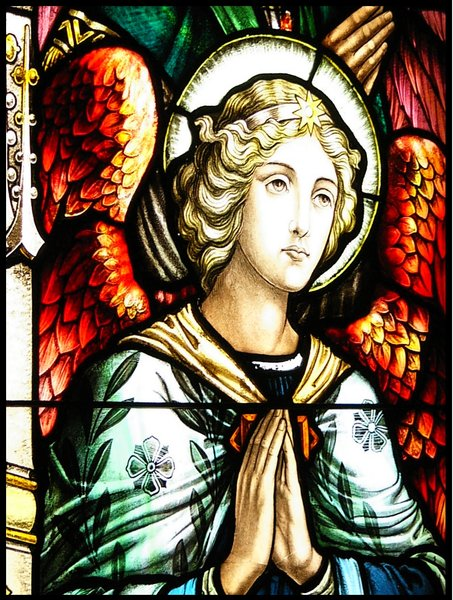 Angelic: Stained Glass of Wolfville Baptist Church, Wolfville, Nova Scotia - the oldest continuing Baptist Church in Canada