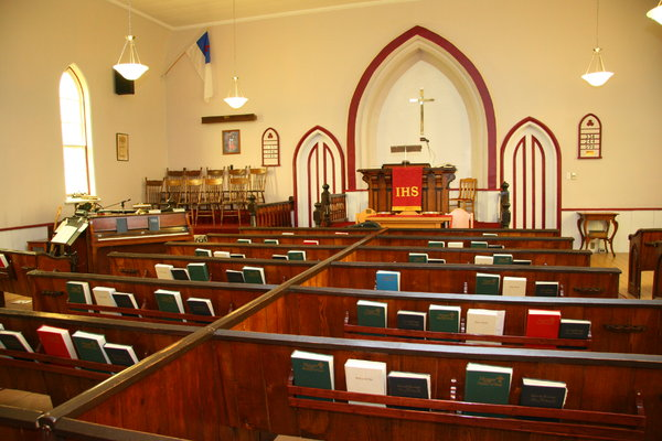Little Country Church: Interior of Scotch Village Baptist Church founded in 1799 near Windsor, Nova Scotia, Canada