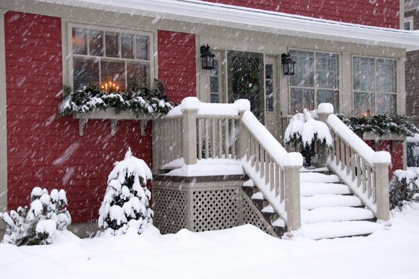 The Night Before Christmas: House in Kentville, Nova Scotia, Canada during a winter snowfall