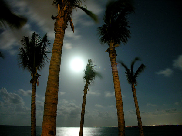 Beach - Nite 1: I took these shots during a recent visit to Mexico, you can see the lights of Cozumel off in the distance.