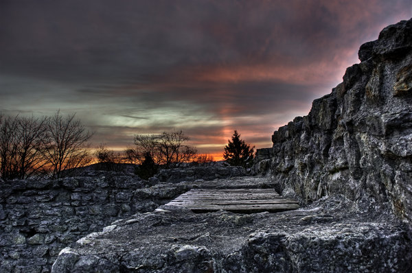Dusk over a ruin: Beautiful sky over a ruin