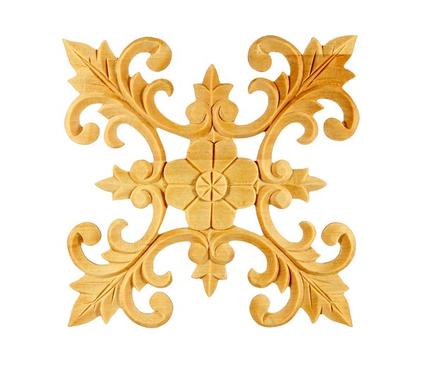 Ornamental Wood: A die cut Fleur-de-lis style decorative ornament designed to be applied with glue and painted.