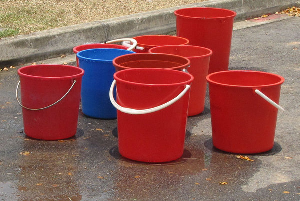 bucket brigade: plastic buckets used by Boys' Brigade members in community car wash