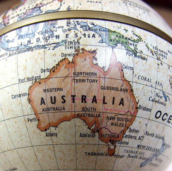 old world Australia: antique style global map of Australia and its North