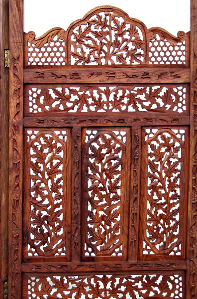 wooden decorative screen: carved decorative indoors wooden folding screen