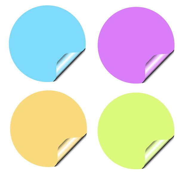Stickers 1 Circles: Round stickers with a lifted edge, in pastel colours. Copyspace for your pricing, message or announcement. May be used as web buttons.