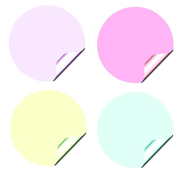 Stickers 3 Circles: Round stickers with a lifted edge, in pastel colours. Copyspace for your pricing, message or announcement. May be used as web buttons.