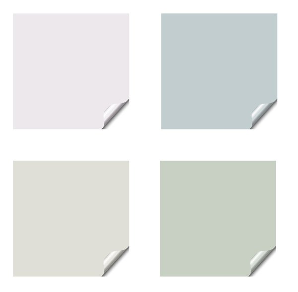 Stickers 9 Squares: Square stickers with a lifted edge, in pastel colours. Copyspace for your pricing, message or announcement. May be used as web buttons.