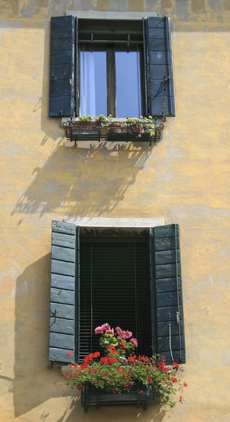 Windows: Windows in an old building in Venice.