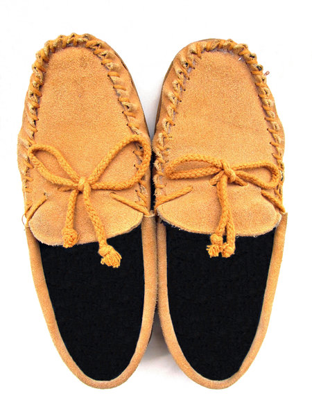 smiling suede shoes: pair of moccasin-like black fur-lined tan suede shoes